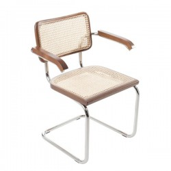 Valnöt Bauhausstol med karm rotting