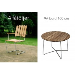 Teak Grupp, 4 Fåtölj A2 + 9A bord 100 cm